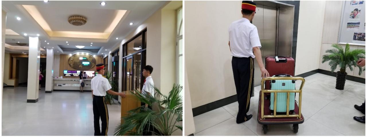 필자가 7박8일간 묵었던 평양 해방산호텔 로비 & 짐을 옮기는 해방산호텔 직원