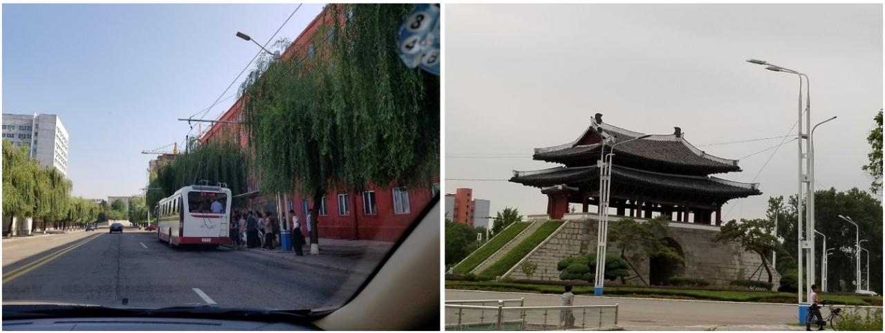 버드나무 늘어진 평양거리 퇴근길 전차를 타는 풍경 & 북한 국보제2호 보통문