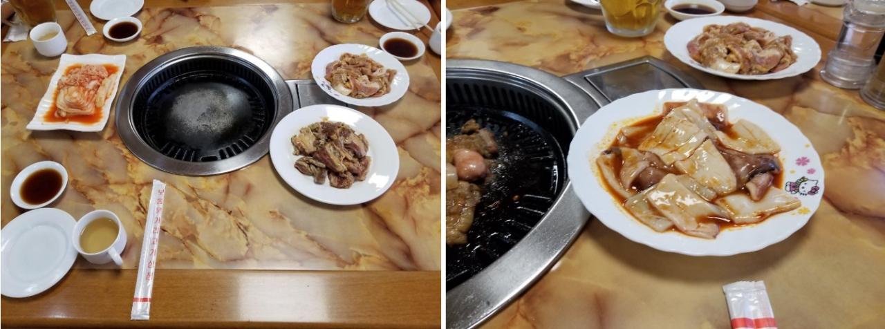 보통문고기상점 숯불구이식당 상차림 & 보통문거리고기상점 숯불구이 식당 오징어 불고기